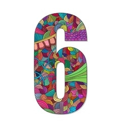Number 6 with hand drawn abstract doodle pattern vector