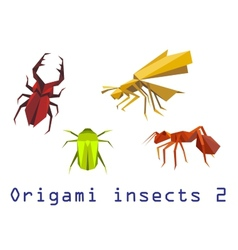 Origami insects set vector image vector image
