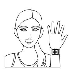 Pretty woman sport with smart watch wearable vector