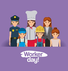 Purple card with group of female workers on worker vector