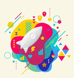 Rocket on abstract colorful spotted background vector