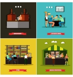 Set of brewery and beer restaurant concept vector