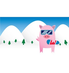 Snowboarding Pig vector image vector image
