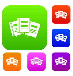 three books with bookmarks set collection vector image