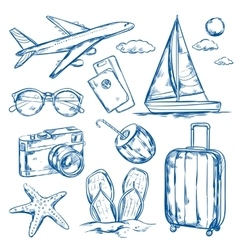 Travel elements sketch set vector