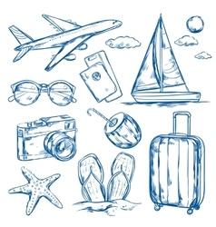 Travel Elements Sketch Set vector image
