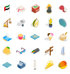 United arab emirates icons set isometric style vector