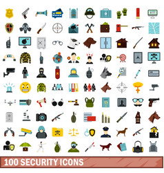 100 security icons set flat style vector