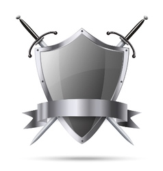 Metallic shield and two swords with ribbon vector