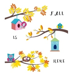Fall is here flat border set vector
