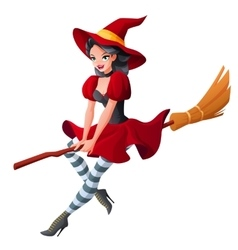 Woman in dark red halloween costume of witch vector