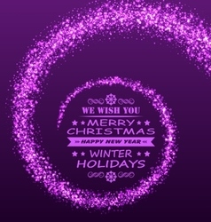 Christmas wishes with magic dust purple glitter vector