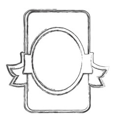 contour emblem with round decoration icon vector image