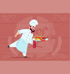 Chef cook holding tray with lobster smiling vector