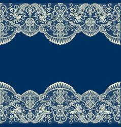 beige lace border on blue vector image