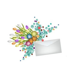 Tulip bouquet with christmas balls and envelope vector