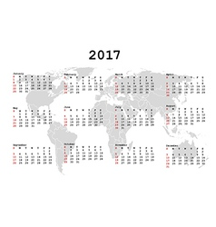2017 Calendar for agenda with world map vector image vector image