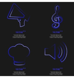 Set of fashionable blue icons trending symbols vector