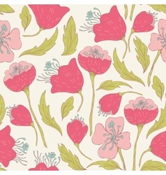 Seamless pattern with hand drawn doodle flowers vector