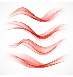 Set of wavy red banners vector