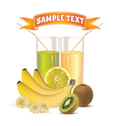 Glasses with juice lemon bananas and kiwi vector