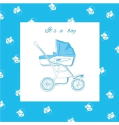 Blue pram with nipples vector
