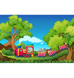 Easter bunny riding on train full of eggs vector