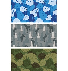 Military set of textures winter blue camo made of vector