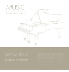 Musical instruments graphic template grand piano vector