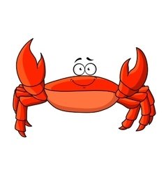 Cartoon red crab with upward claws vector image