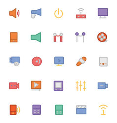Multimedia colored icons 8 vector