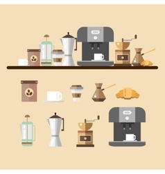 Set of coffee devices in flat style coffee icons vector