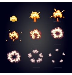 Cartoon explosion effect with smoke boom explode vector