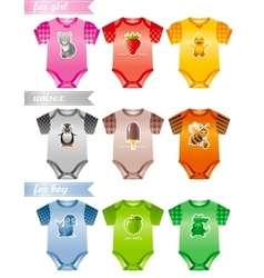 Baby clothes icon set with fashion girl boy and vector