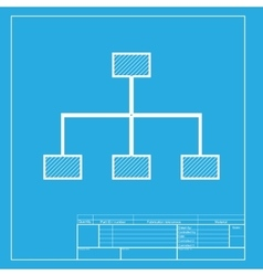 Site map sign White section of icon on blueprint vector image