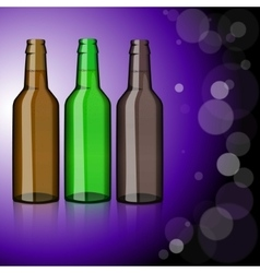 Three bottles of beer refreshment vector