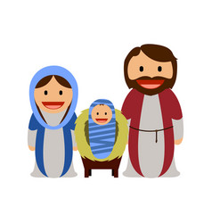 baby jesus with mary and joseph vector image