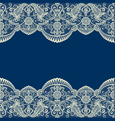 Beige lace border on blue vector