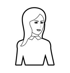 black silhouette cartoon half body woman with long vector image vector image
