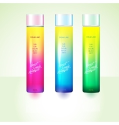 Bottles with sample labels for shower gel or vector image