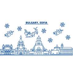 Bulgaria sofia winter city skyline merry vector
