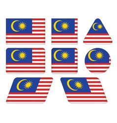Buttons with flag of malaysia vector