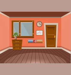 Cartoon flat interior office room in peach vector