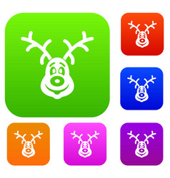 christmas deer set collection vector image