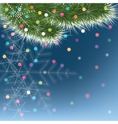 Christmas snowflakes and green fir tree on blue vector image