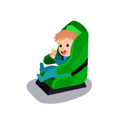 Cute baby sitting on a green car seat wearing seat vector