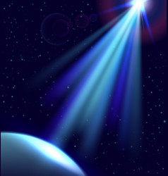 direct light in dark space planet and ufo light vector image