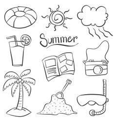 Doodle of summer object art vector