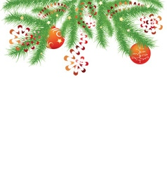 fir branch and red Christmas balls vector image vector image