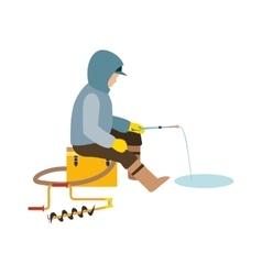 Fisherman enjoying days winter fishing on ice vector